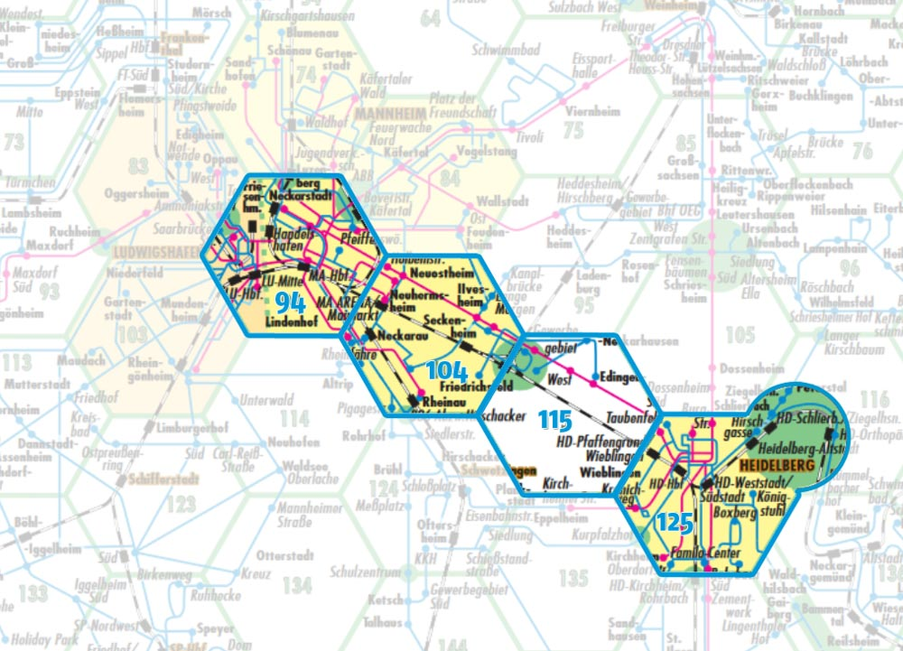 Mvv Zonen Karte.Vrn Wabensystem Tarifgebiet