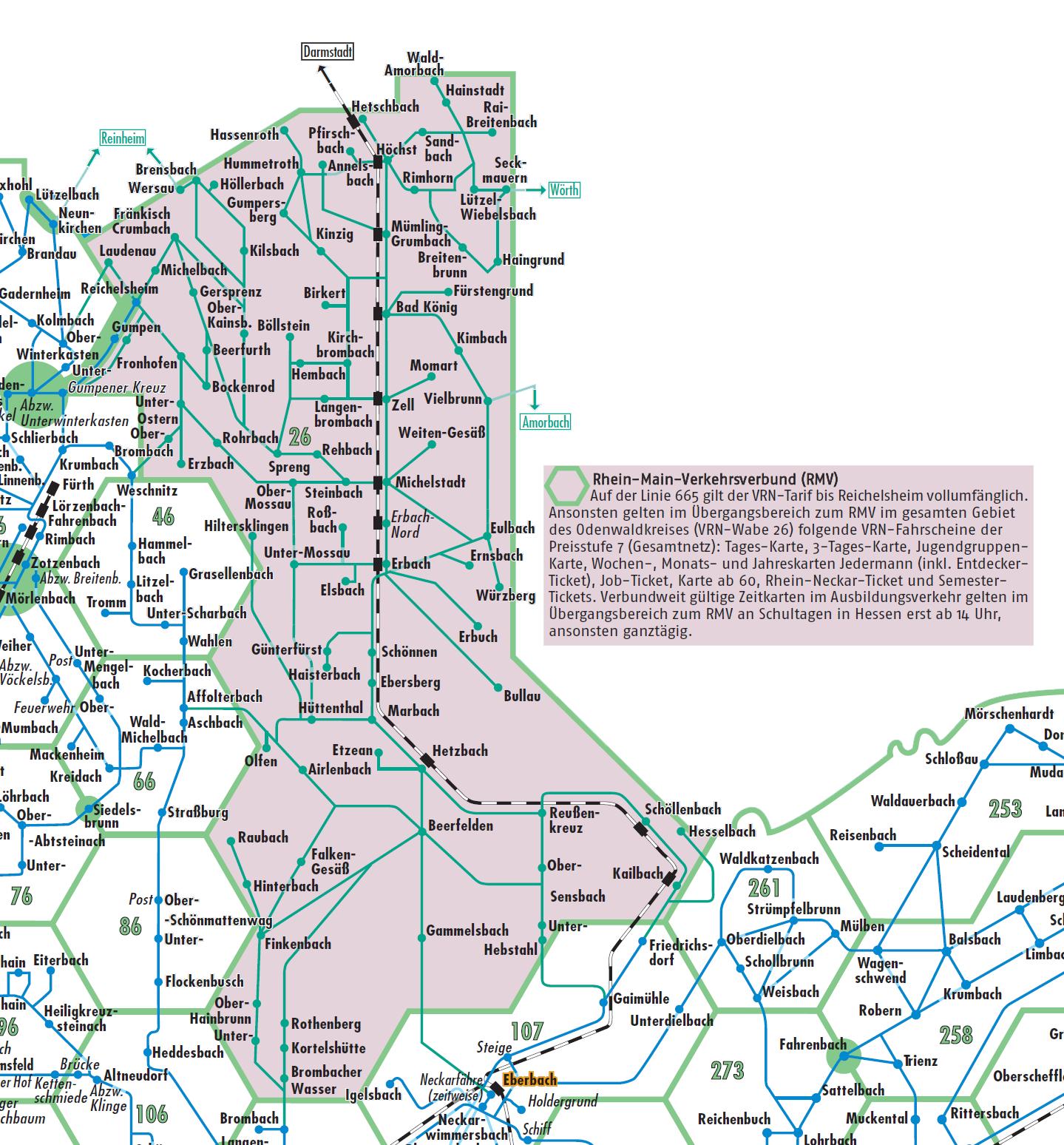 rmv gebiet karte VRN | Übergang zum Rhein Main Verkehrsverbund (RMV)